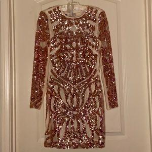 BEBE Rose gold sequin formal dress